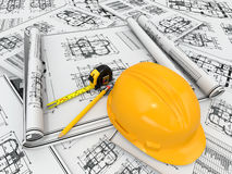Hardhat, blueprint and rulers. Stock Images