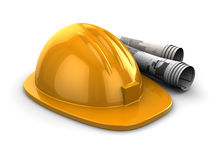 Hardhat and blueprints Royalty Free Stock Image
