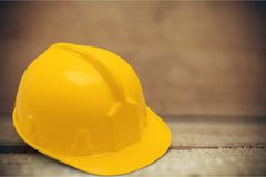 Hardhat. Construction helmet hat safety toughness manual worker royalty free stock image