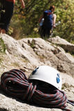 Hardhat And Cord. On a Rock Royalty Free Stock Image