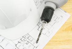 Hardhat drill and design Royalty Free Stock Photos