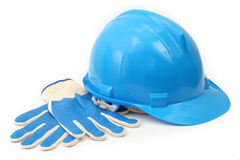 Hardhat and gloves Stock Photo