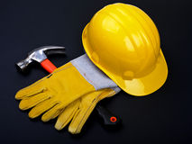 HardHat Hammer And Gloves Stock Photos