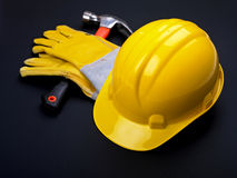 HardHat Hammer And Gloves Royalty Free Stock Photo