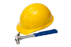 Hardhat with Hammer Isolated Royalty Free Stock Images
