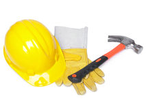 HardHat Hammer And Leather Gloves Royalty Free Stock Photos
