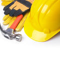 HardHat Hammer And Leather Gloves Stock Images