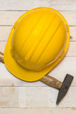 Hardhat and Hammer Stock Photography