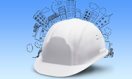 Hardhat. White hat helmet toughness construction solid royalty free stock photo