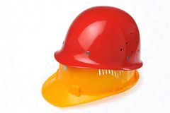 Hardhat hat. The protection of the twice more of safety valid Stock Photography