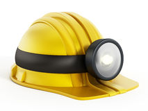 Hardhat with light fixture Royalty Free Stock Images
