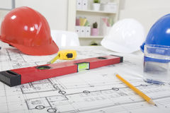 Hardhat  and measuring instruments Royalty Free Stock Photo