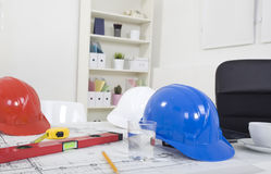 Hardhat  and measuring instruments Stock Photography