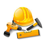 Hardhat and tools. Royalty Free Stock Photography