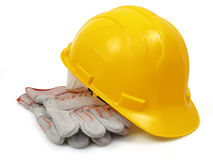 Hardhat and workgloves Royalty Free Stock Photo