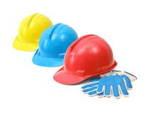 Hardhats and gloves Royalty Free Stock Photography