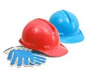 Hardhats and gloves Royalty Free Stock Photo