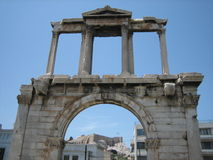 Hardian's Arch, Athens. Ruins of Hadrian's Arch at Temple of Olympian Zeus site in athens, greece Royalty Free Stock Image