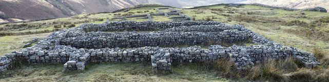 Hardknott Castle ruins of the granary Royalty Free Stock Photo