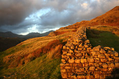 Hardknott Fort in Cumbria. Hardknott Roman Fort by the road  to hardknott pass from in Cumbrian Mountains, Cumbria, England, UK Stock Photos