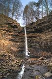 Hardraw Force, Yorkshire, England. Hardraw Force is a waterfall on the Hardraw Beck in Hardraw Scar, a wooded ravine just outside the hamlet of Hardraw, North stock photo