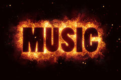 Hardrock rock music text on fire flames explosion Stock Photo