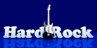 Hardrock. Word with a guitar. 3D Illustration Royalty Free Stock Photography