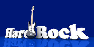 Hardrock. Word with a guitar. 3D Illustration Stock Image