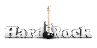 Hardrock. Word with a guitar. 3D Illustration Stock Images