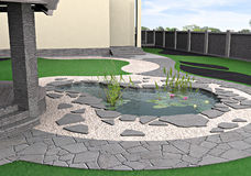 Hardscapes and water garden, 3d rendering Stock Image