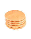 Hardtack cookie stack. Some hardtack cookie, isolated on white background Stock Photo