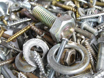 Hardware. Industrial steel hardware bolts, nuts, screws Royalty Free Stock Images