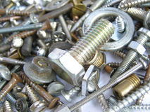 Hardware. Industrial steel hardware bolts, nuts, screws Stock Photos