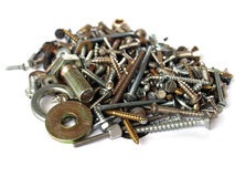 Hardware. Industrial steel hardware bolts, nuts, screws Stock Photo