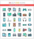 Hardware, apparaten en gadgetspictogrammen Stock Illustratie