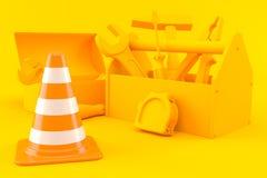 Hardware background with traffic cone. In orange color. 3d illustration stock illustration