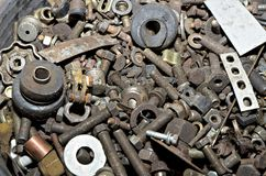 Hardware - bolts, nuts, washers, screws in bucket Stock Photo