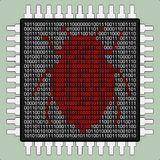 Hardware bug. A microchip with a bug stock illustration