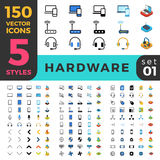 Hardware computer 150 line flat isometric mobile w Stock Photo