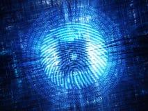 Hardware d'ardore blu con l'impronta digitale digitale Immagini Stock