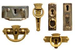 Hardware de los muebles de Art Nouveau Manijas de la antigüedad Imagen de archivo libre de regalías