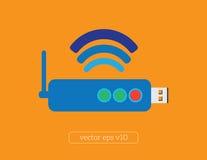 Hardware do modem, imagem do vetor da ilustração do ícone da conexão Fotografia de Stock Royalty Free