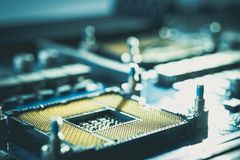 Hardware electronic circuit board. technology style concept semi royalty free stock photography