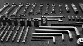 Hardware equipment. Set of variety mechanical tools angle shot Stock Images