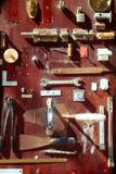 Hardware equipment vintage wood display Stock Photography