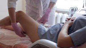 Hardware figure correction. Machine cosmetology. Anti-cellulite program for health and slimming.  stock video footage