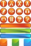Hardware Icon Set: Round Web Button Series vector illustration