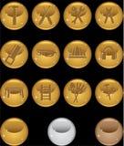 Hardware Icon Set: Round Web Button Series - Gold Stock Image