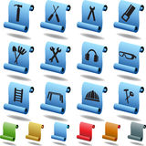 Hardware Icon Set: Scroll Series. Set of hardware icons in a scroll button style Stock Image