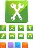 Hardware Icon Set: Square Web Button Series Royalty Free Stock Photos